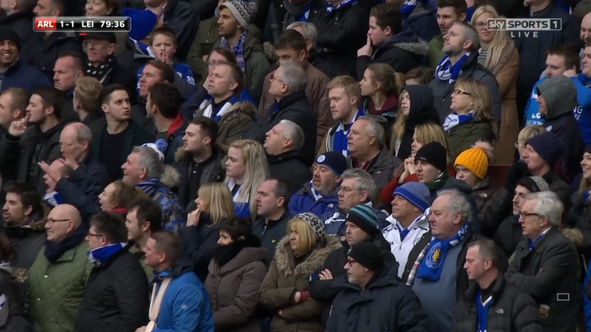 Leicester fans at Emirates Stadium (v Arsenal - 14th Feb 2016)