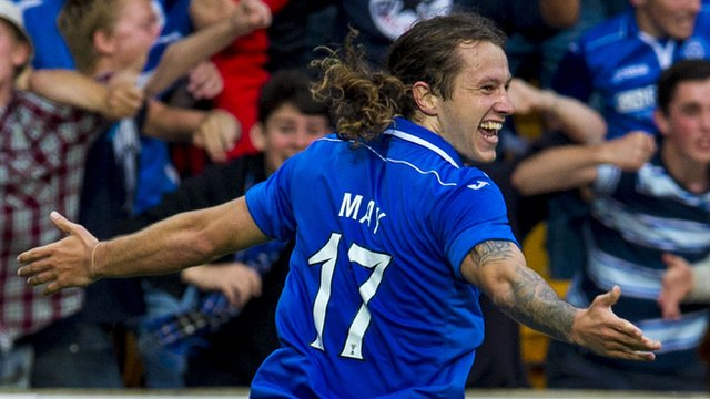 Goal machine: 27-goal top scorer May was the catalyst to St Johnstone's successful 2013-14 season (Picture from Zimbio.com)