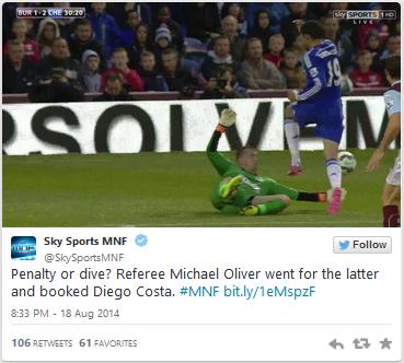 Burnley v Chelsea Sky MNF tweet penalty incident