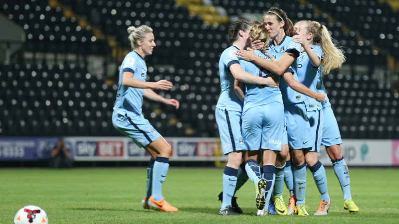 Jubilation: Manchester City Women will hope for a similar resurgence to that of their men's team after ending their long wait for a trophy (Picture from Zimbio.com)