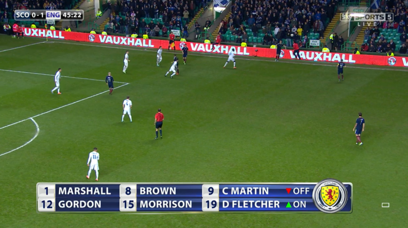Armband switch: Manchester United's Darren Fletcher took over the Scotland captaincy from Celtic's Scott Brown at the break