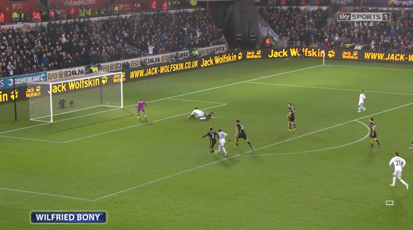 Chief tormentor: Bony caused Spurs centre-backs Federico Fazio and Jan Vertonghen problems throughout