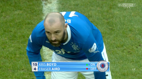 Fresh face: Boyd entered the fray at the start of the second half but could not alter Rangers' fortunes