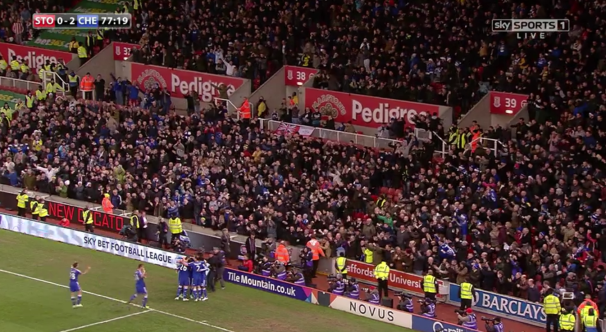 Chelsea celebrate second goal at Stoke (22nd December 2014)