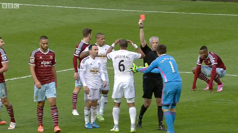 Seeing red: Fabianski was subsequently given his marching orders (Picture from MOTD2 footage)
