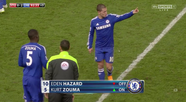 Precaution: Hazard was replaced by Kurt Zouma for the final stages
