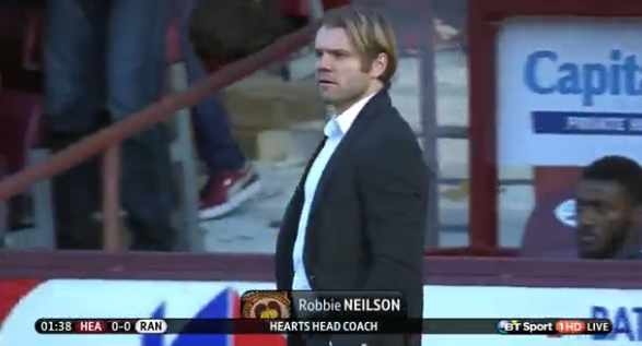 Hearts boss Robbie Neilson at Tynecastle v Rangers (22nd Nov 2014)