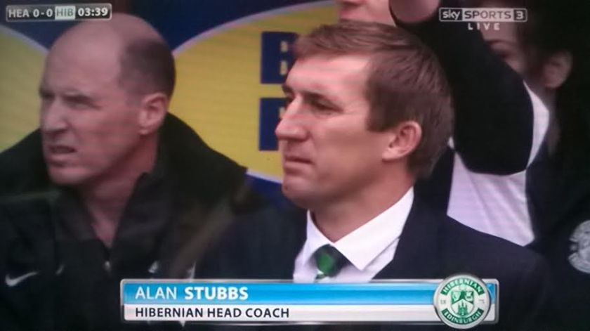 Hibernian head coach Alan Stubbs in the Edinburgh derby at Tynecastle