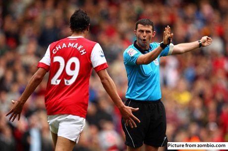 Michael Oliver referee Arsenal v Aston Villa 2010-11 season