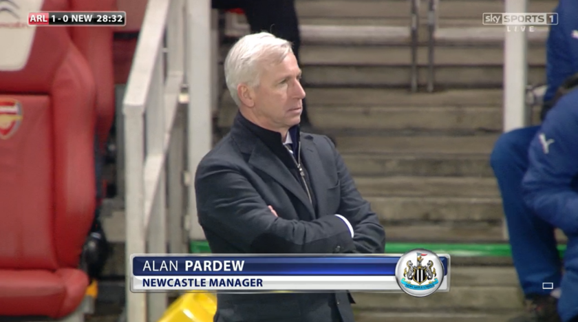 Bogey team: Pardew has not won any of his last 14 matches as a manager against the Gunners