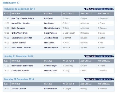 The rest of the weekend's Premier League match official appointments