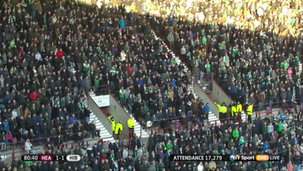Attendance for the 2015 New Year Edinburgh derby (Hearts v Hibs at Tynecastle)