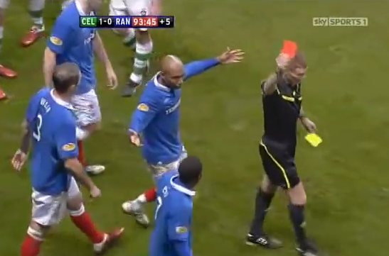 Celtic v Rangers Bougherra red card