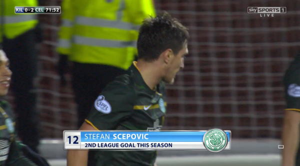 Making his mark: Scepovic netted his fourth goal of the season in his 17th appearance in all competitions