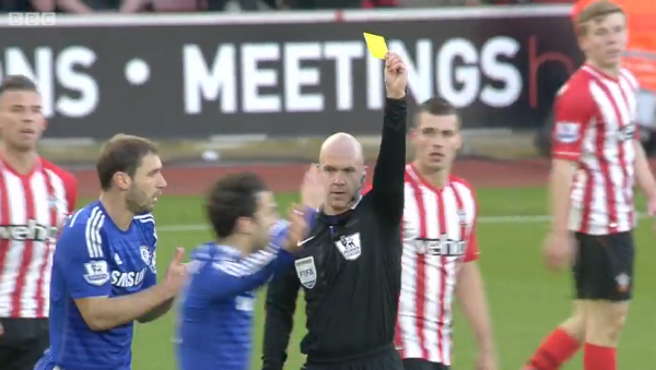 Anthony Taylor books Fabregas for diving (S'ton v Chelsea - 28th Dec 2014)