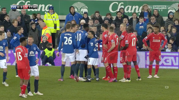 Flashpoint in Merseyside derby at Goodison Park (7th February 2015)
