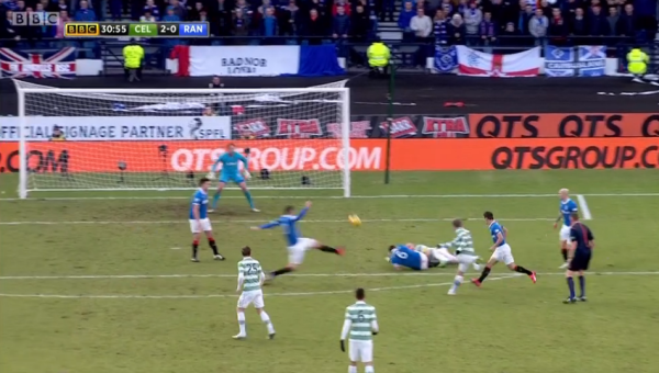 Spectacular: Last season's PFA Scotland Player of the Year Commons produced a sumptuous left-footed strike to double Celtic's lead in the first half