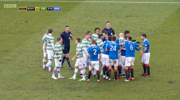 Flashpoint: Uncharacteristically for an Old Firm derby, there was only one minor flare-up in stoppage time involving both sets of players