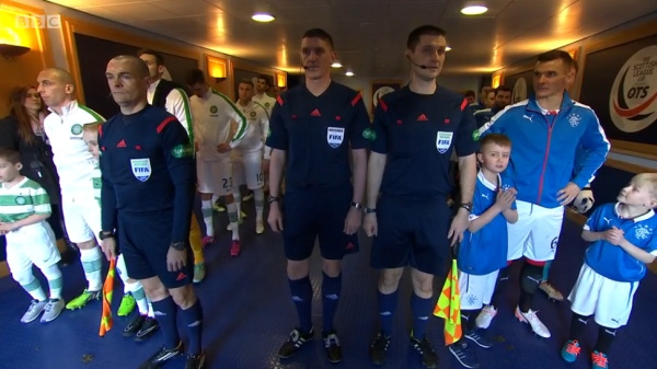Match officials and players in the tunnel (Celtic v Rangers - 1st Feb 2015)