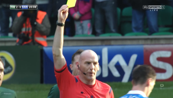 Bobby Madden issues yellow card (Hibs v Rangers - 27th Dec 2014)