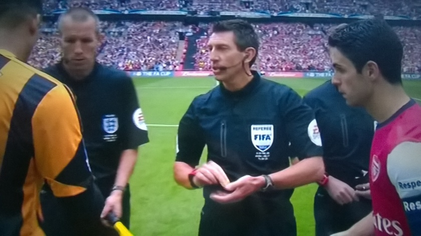 Lee Probert with two captains at FA Cup Final 2014