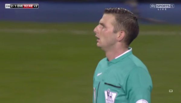 Michael Oliver at White Hart Lane (Tottenham v Everton - 30th Nov 2014)
