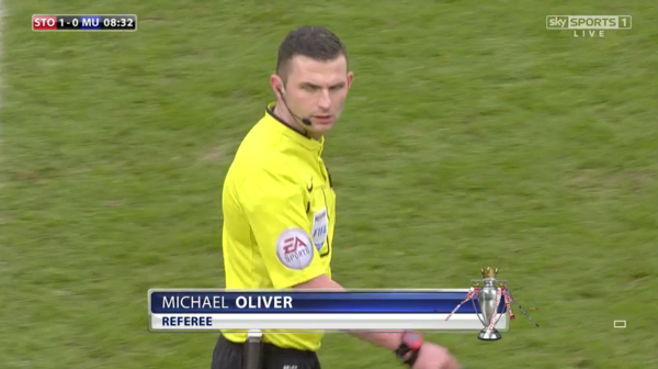 Michael Oliver referee (Stoke v Man Utd - 1st January 2015)