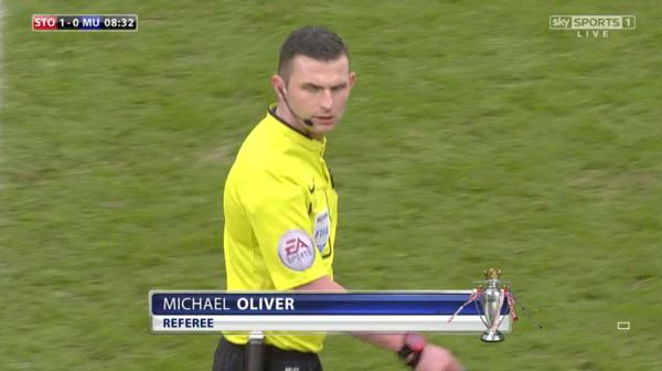 Michael Oliver referee (Stoke v Man Utd - 1st January 2015)