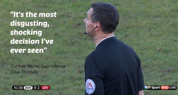 Andre Marriner image (Clive Thomas quote on Gibbs red card decision)