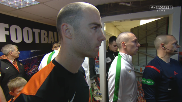 Dundee Utd and Celtic players in Tannadice tunnel (8th March 2015)
