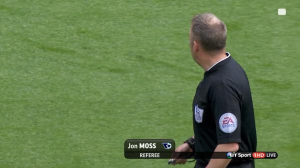 Jon Moss referee (Southampton v Tottenham - 25th April 2015)