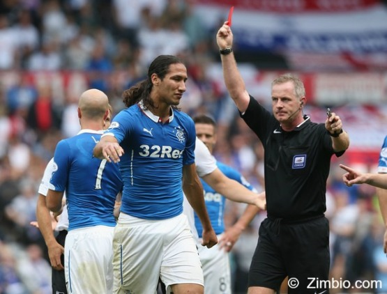 Bilel Mohsni sent off by Mark Heywood in pre-season friendly at Derby (July 2014)