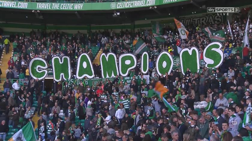Celtic champions banner at Parkhead