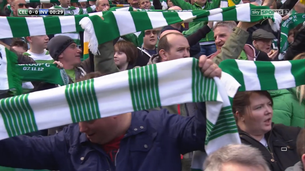Celtic fans hold up scarves (v Inverness CT - 24th May 2015)