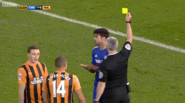 Chris Foy books Diego Costa for diving (Chelsea v Hull City - 16th Dec 2014)