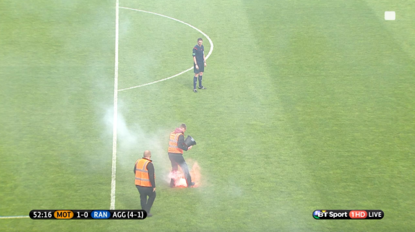 Flare thrown onto the pitch