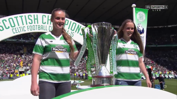 Girls with Premiership trophy at Celtic Park (24th May 2015)