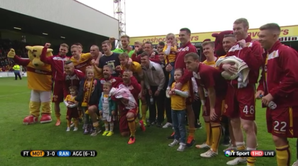 Motherwell players on the pitch
