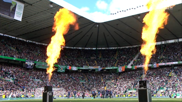 Pyrotechnics set off at Celtic Park (24th May 2015)
