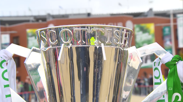 Scottish Premiership trophy outside Parkhead (24th May 2015)