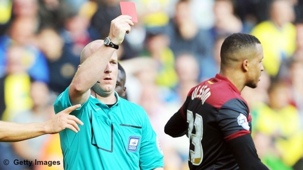 Simon Hooper dismisses Norwich's Martin Olsson (August 2014)