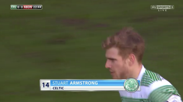 Stuart Armstrong (Celtic midfielder v Aberdeen - 1st March 2015)