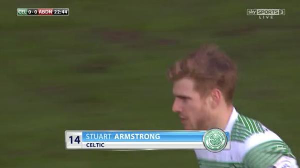 Stuart Armstrong (Celtic midfielder v Aberdeen - 1st March 2015)