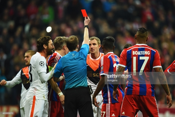 during the UEFA Champions League Round of 16 second leg match between FC Bayern Muenchen and FC Shakhtar Donetsk at Allianz Arena on March 11, 2015 in Munich, Germany.
