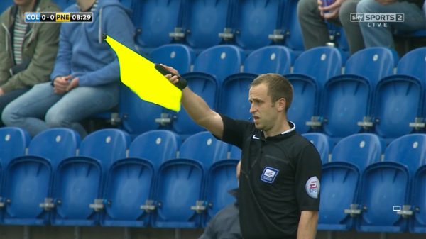 Andrew Fox flags for offside (Colchester v Preston - 3rd May 2015)