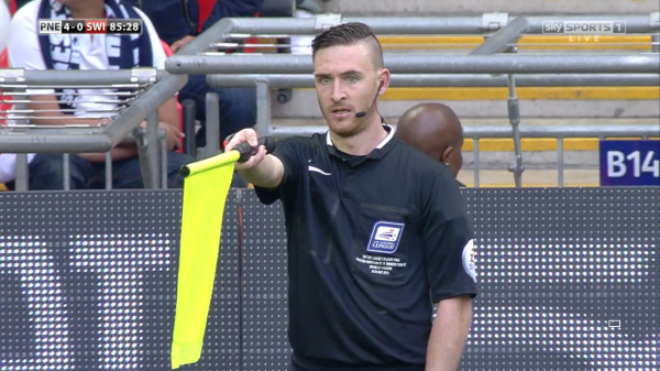 Daniel Cook flags for offside (Lge One PO Final - 24th May 2015)