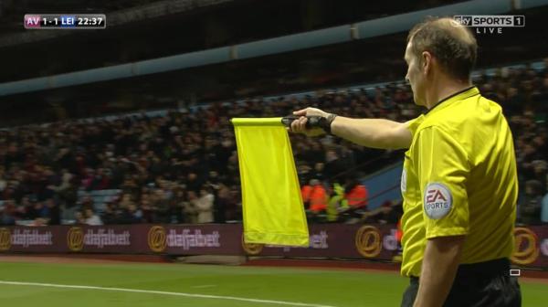 Dave Bryan raises the flag (Aston Villa v Leicester - 7th Dec 2014)