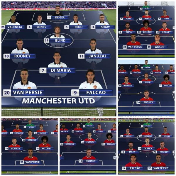 Man United midfield combinations 2014-15 collage