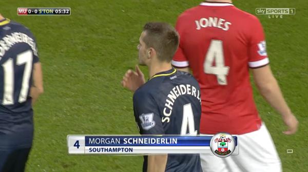 Morgan Schneiderlin (Saints midfielder v Man Utd - 11th Jan 2015)
