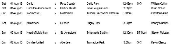 SPFL Matchday One 2015-16 Referee Appointments